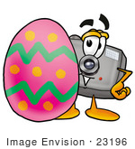 #23196 Clip Art Graphic Of A Flash Camera Cartoon Character Standing Beside An Easter Egg