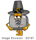 #23197 Clip Art Graphic Of A Flash Camera Cartoon Character Wearing A Pilgrim Hat On Thanksgiving