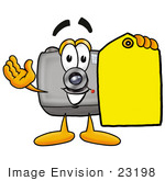 #23198 Clip Art Graphic Of A Flash Camera Cartoon Character Holding A Yellow Sales Price Tag