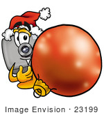 #23199 Clip Art Graphic Of A Flash Camera Cartoon Character Wearing A Santa Hat Standing With A Christmas Bauble