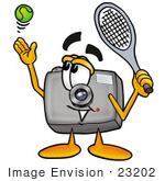 #23202 Clip Art Graphic of a Flash Camera Cartoon Character Preparing to Hit a Tennis Ball by toons4biz