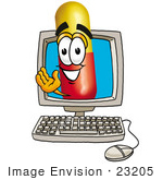 #23205 Clip Art Graphic Of A Red And Yellow Pill Capsule Cartoon Character Waving From Inside A Computer Screen