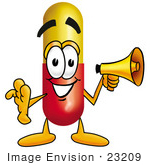 #23209 Clip Art Graphic Of A Red And Yellow Pill Capsule Cartoon Character Holding A Megaphone
