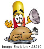 #23210 Clip Art Graphic Of A Red And Yellow Pill Capsule Cartoon Character Serving A Thanksgiving Turkey On A Platter