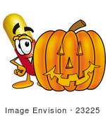 #23225 Clip Art Graphic Of A Red And Yellow Pill Capsule Cartoon Character With A Carved Halloween Pumpkin