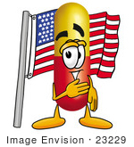 #23229 Clip Art Graphic Of A Red And Yellow Pill Capsule Cartoon Character Pledging Allegiance To An American Flag