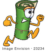 #23234 Clip Art Graphic Of A Rolled Green Carpet Cartoon Character Running