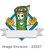 #23237 Clip Art Graphic Of A Rolled Green Carpet Cartoon Character Label
