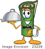 #23239 Clip Art Graphic of a Rolled Green Carpet Cartoon Character Dressed as a Waiter and Holding a Serving Platter by toons4biz