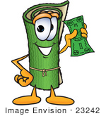 #23242 Clip Art Graphic Of A Rolled Green Carpet Cartoon Character Holding A Dollar Bill