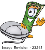 #23243 Clip Art Graphic Of A Rolled Green Carpet Cartoon Character With A Computer Mouse