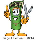 #23244 Clip Art Graphic Of A Rolled Green Carpet Cartoon Character Holding A Pair Of Scissors
