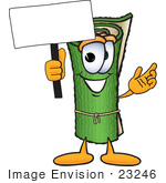 #23246 Clip Art Graphic Of A Rolled Green Carpet Cartoon Character Holding A Blank Sign