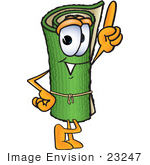#23247 Clip Art Graphic Of A Rolled Green Carpet Cartoon Character Pointing Upwards