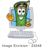 #23248 Clip Art Graphic Of A Rolled Green Carpet Cartoon Character Waving From Inside A Computer Screen
