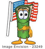 #23249 Clip Art Graphic Of A Rolled Green Carpet Cartoon Character Pledging Allegiance To An American Flag