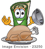 #23250 Clip Art Graphic Of A Rolled Green Carpet Cartoon Character Serving A Thanksgiving Turkey On A Platter