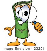 #23251 Clip Art Graphic Of A Rolled Green Carpet Cartoon Character Looking Through A Magnifying Glass