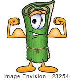 #23254 Clip Art Graphic of a Rolled Green Carpet Cartoon Character Flexing His Arm Muscles by toons4biz