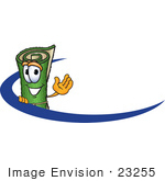 #23255 Clip Art Graphic Of A Rolled Green Carpet Cartoon Character Logo With A Dash