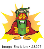 #23257 Clip Art Graphic Of A Rolled Green Carpet Cartoon Character Dressed As A Super Hero