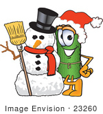 #23260 Clip Art Graphic Of A Rolled Green Carpet Cartoon Character With A Snowman On Christmas