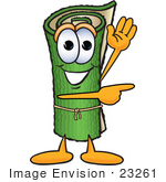 #23261 Clip Art Graphic Of A Rolled Green Carpet Cartoon Character Waving And Pointing