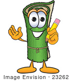 #23262 Clip Art Graphic Of A Rolled Green Carpet Cartoon Character Holding A Pencil