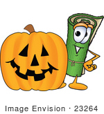 #23264 Clip Art Graphic Of A Rolled Green Carpet Cartoon Character With A Carved Halloween Pumpkin