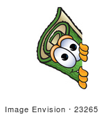 #23265 Clip Art Graphic Of A Rolled Green Carpet Cartoon Character Peeking Around A Corner