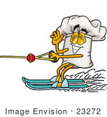 #23272 Clip Art Graphic Of A White Chefs Hat Cartoon Character Waving While Water Skiing