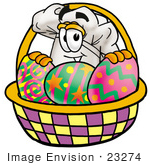 #23274 Clip Art Graphic Of A White Chefs Hat Cartoon Character In An Easter Basket Full Of Decorated Easter Eggs