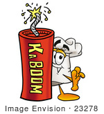 #23278 Clip Art Graphic Of A White Chefs Hat Cartoon Character Standing With A Lit Stick Of Dynamite