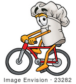#23282 Clip Art Graphic Of A White Chefs Hat Cartoon Character Riding A Bicycle