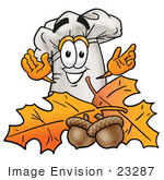 #23287 Clip Art Graphic Of A White Chefs Hat Cartoon Character With Autumn Leaves And Acorns In The Fall