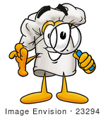 #23294 Clip Art Graphic Of A White Chefs Hat Cartoon Character Looking Through A Magnifying Glass