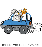 #23295 Clip Art Graphic Of A White Chefs Hat Cartoon Character Driving A Blue Car And Waving