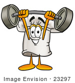 #23297 Clip Art Graphic Of A White Chefs Hat Cartoon Character Holding A Heavy Barbell Above His Head