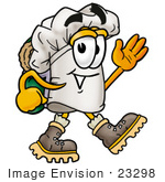#23298 Clip Art Graphic Of A White Chefs Hat Cartoon Character Hiking And Carrying A Backpack