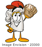#23300 Clip Art Graphic Of A White Chefs Hat Cartoon Character Catching A Baseball With A Glove