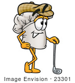 #23301 Clip Art Graphic Of A White Chefs Hat Cartoon Character Leaning On A Golf Club While Golfing