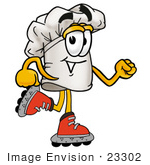 #23302 Clip Art Graphic Of A White Chefs Hat Cartoon Character Roller Blading On Inline Skates