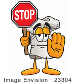 #23304 Clip Art Graphic Of A White Chefs Hat Cartoon Character Holding A Stop Sign