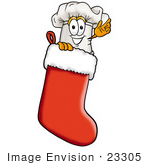 #23305 Clip Art Graphic Of A White Chefs Hat Cartoon Character Inside A Red Christmas Stocking