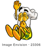 #23306 Clip Art Graphic Of A White Chefs Hat Cartoon Character Plugging His Nose While Jumping Into Water