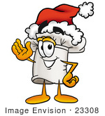 #23308 Clip Art Graphic of a White Chefs Hat Cartoon Character Wearing a Santa Hat and Waving by toons4biz