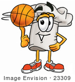 #23309 Clip Art Graphic Of A White Chefs Hat Cartoon Character Spinning A Basketball On His Finger