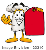 #23310 Clip Art Graphic Of A White Chefs Hat Cartoon Character Holding A Red Sales Price Tag