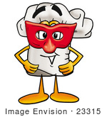 #23315 Clip Art Graphic Of A White Chefs Hat Cartoon Character Wearing A Red Mask Over His Face