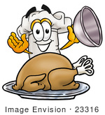 #23316 Clip Art Graphic Of A White Chefs Hat Cartoon Character Serving A Thanksgiving Turkey On A Platter